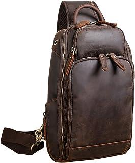 Polare Men's Full Grain Leather Sling Crossbody Shoulder Bag Travel Hiking Daypacks