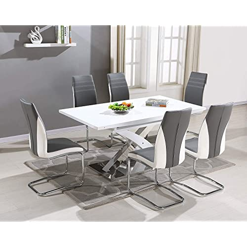 8a85239eedfc Pescara Dining Table Set and 4 6 8 Upholstered Padded Grey and White Faux