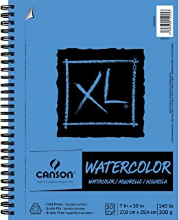 Canson XL Series Watercolor Textured Pad, Use with Paint Pencil Ink Charcoal Pastel and Acrylic, Side Wire Bound, 140 Poun...