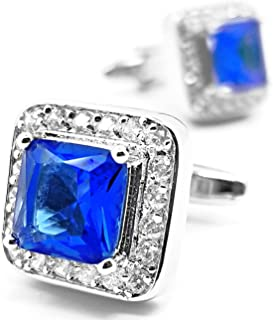 MFYS Blue Crystal Cufflinks Gift for Men/Father's Day/Lover/Friends/Wedding/Anniversaries/Birthdays with A Elegant Box