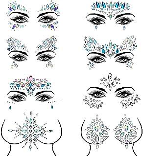 Czemo Bindi zelfklevende strassteentjes voor gezicht, 8 stuks, voor het gezicht, sierstenen, zelfklevend, strassteentjes, ...