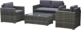Outsunny 4 Pieces Outdoor Wicker Patio Sofa Set, Rattan Conversation Furniture Set with..