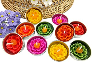 NAVA CHIANGMAI Flower Tealight Candles Scented Tea Lights Aromatherapy Relax Candles for Birthday Party Supplies and Wedding Favor Baby Shower Decorations Pack of 10 Pcs(Lotus Flower)