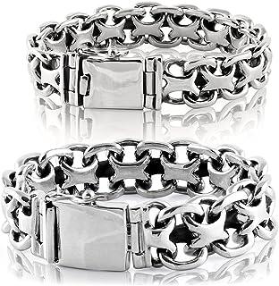 VY JEWELRY X Biker Heavy 925 Sterling Silver Bracelet for Men Width 15/20mm