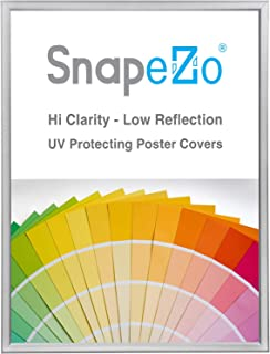 SnapeZo Poster Frame 18x24 Inches, Silver 0.77 Inch Aluminum Profile, Front-Loading Snap Frame, Wall Mounting, Slim Series