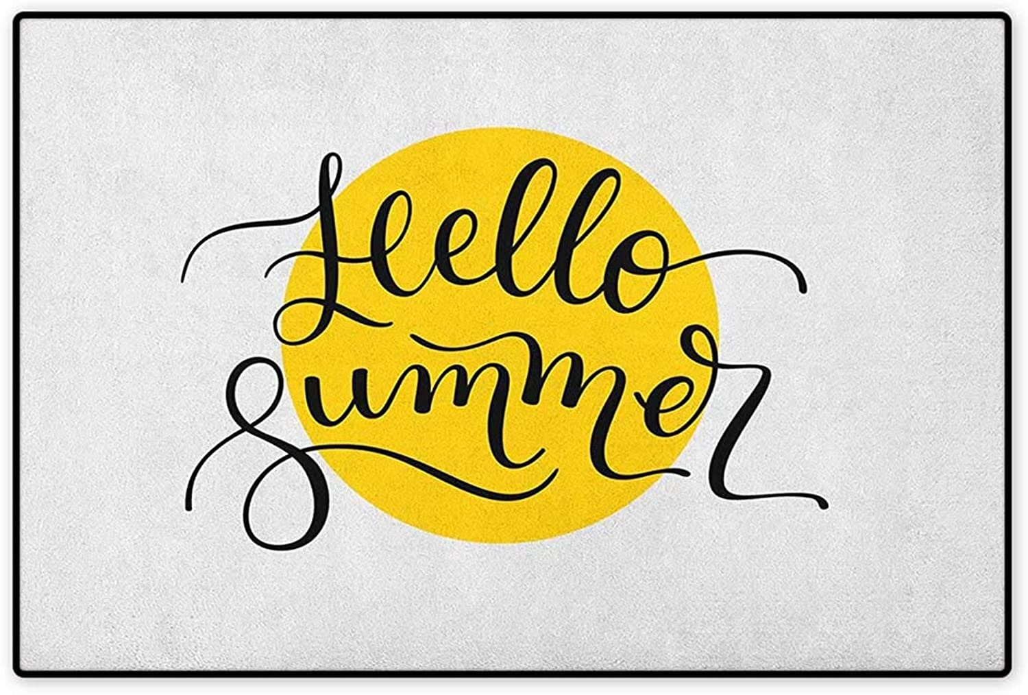Hello Summer,Door Mat Indoors,Abstract Retro Style Lettering in Black Font Across a Round Shape in Yellow,Indoors Doorroom Mats Non Slip,Mustard Black,Size,32 x48  (W80cm x L120cm)