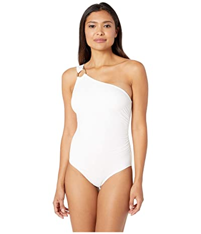 MICHAEL Michael Kors Iconic Solids One Shoulder One-Piece (White) Women