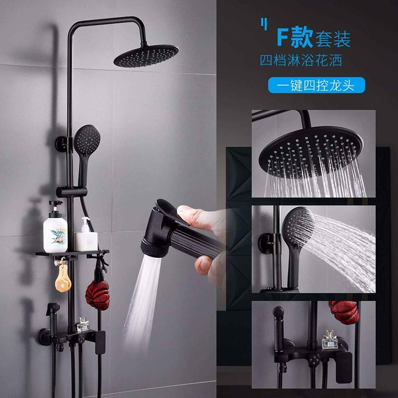 Shower Shower Set Household Black Copper Shower Bathroom Wall Bathroom Shower Constant Temperature Shower Head,F