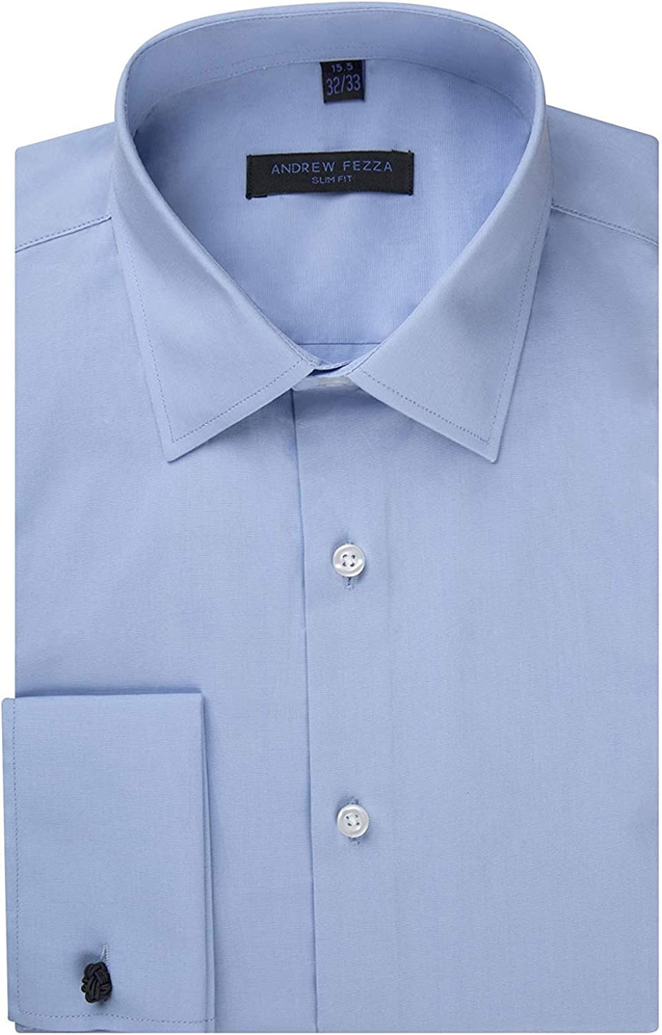 Andrew Today's only Fezza Men's Slim Fit French Cuff Cotton Dress Super Special SALE held Solid Shirt