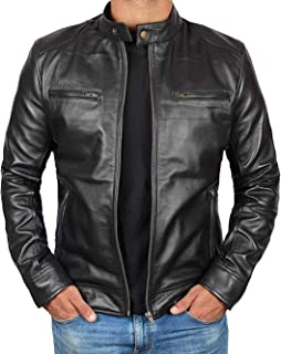 Genuine Black Leather Jacket Men - Lambskin Motorcycle Mens Leather Jackets