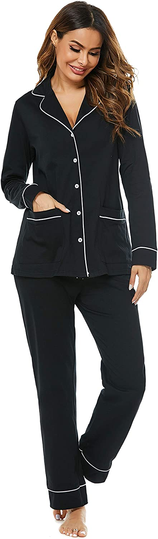 Haiiploo Women's Cotton Pajamas Set Long Sleeve Sleepwear Button Down Nightwear Soft Pj Lounge Sets (XS-XXL)