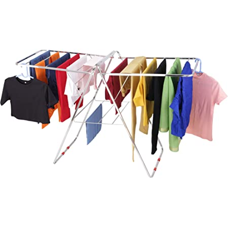 VEEN LIFETIME Stainless Steel Foldable Cloth Stand for Drying Clothes | Cloth Drying Stand for Bedroom | Fold-able Space Saver Stand | Made in India (Butterfly Pipe)
