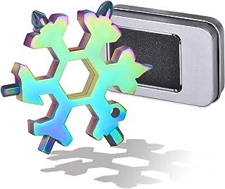 KATELUO 18-i-1 rostfritt stål snöflingor multi-tool, gåvor till män, skruvdragare flasköppnare, med tennlåda, för utomhuss...