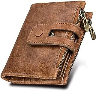 Leather Men Wallet Small Men Wallets Double Zipper&Hasp Male Short Coin Purse,Brown