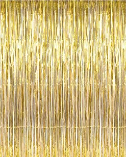 Mengger Foil Curtains 8 Pack Metallic Tinsel Fringe Backdrop Gold Silver Hanging Shimmer Curtain Tassel Streame for Birthday Wedding Bachelorette Party Decorations