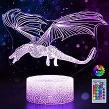 WHATOOK Dragon 3D Illusion Lamp voor Jongens Draak Lamp 16 Kleuren met Afstandsbediening Smart Touch Vliegende Draak Nacht...