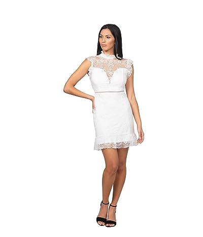 Bebe Ruffle Mock Neck Lace Dress