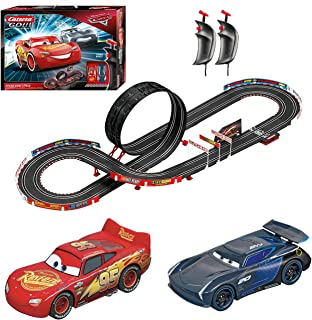 Carrera GO!!! 62476 Disney Pixar Cars Speed Challenge Electric Powered Slot Car Racing Kids Toy Race Track Set Includes 2 Hand Controllers featuring 1:43 Scale Lightning McQueen versus Jackson Storm