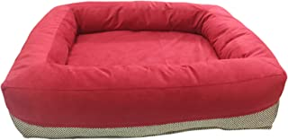 Mellifluous Small Size Dog and Cat Pet Bed, Red-Cream