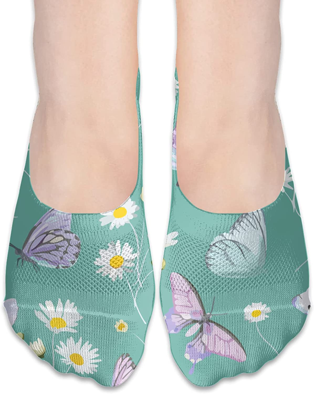 No Show Socks Women Men For Watercolor Daisy Butterfly Pink Flats Cotton Ultra Low Cut Liner Socks Non Slip