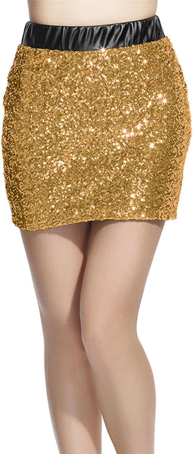 Lotsyle Women's Sequins Club Party Bodycon Mini Skirt Splicing Faux Leather Shorts