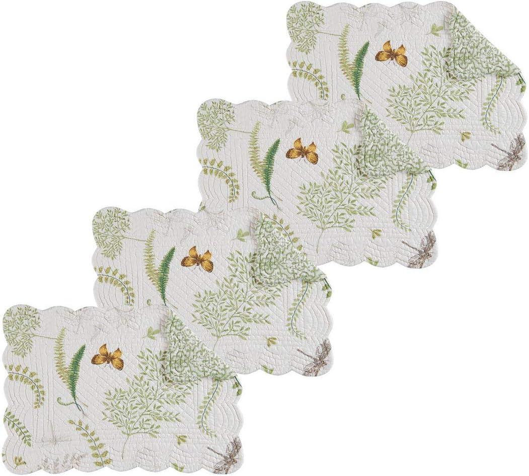 C&F Home Althea Rectangular Cotton Rectangular Quilted Placemat Set of 4 Rectangular Placemat Set of 4 Green