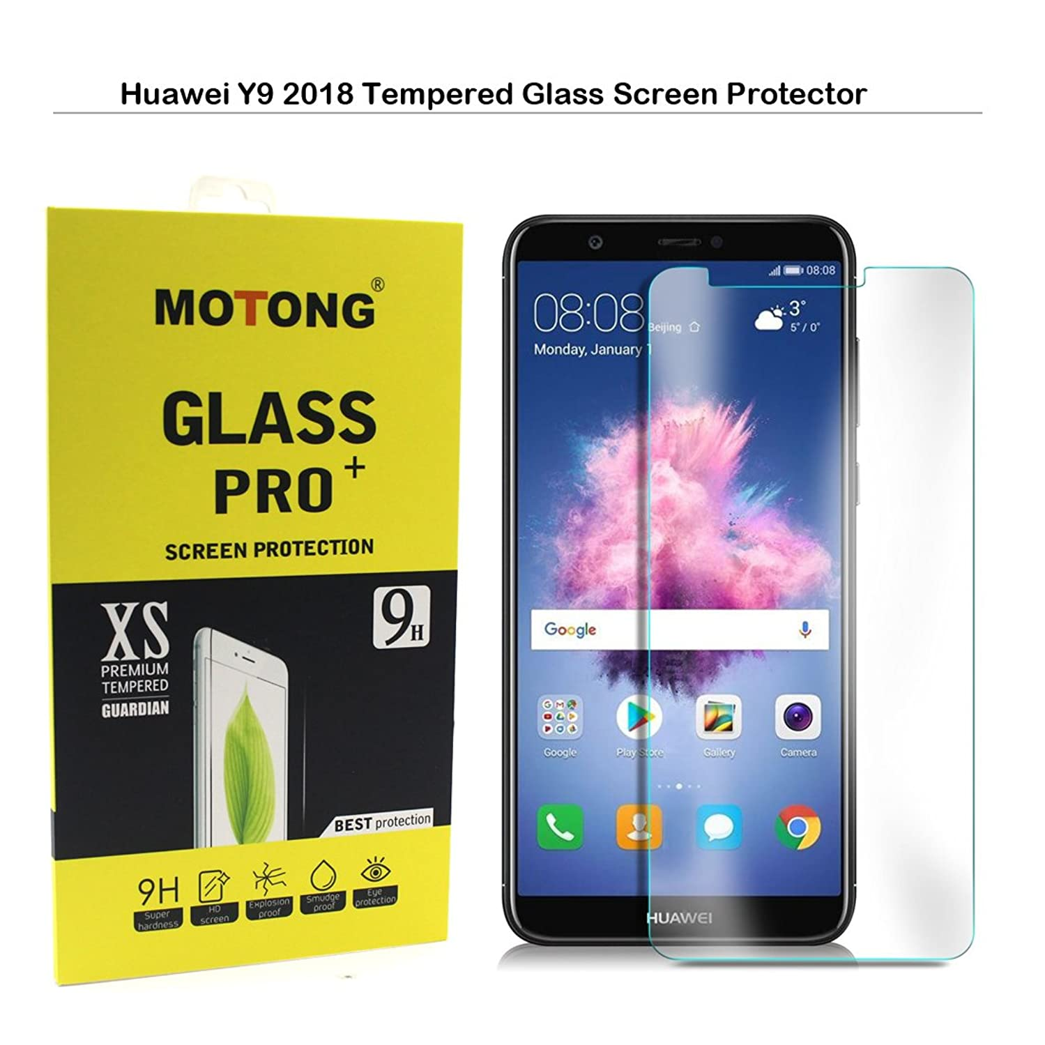 MOTONG Huawei Y9 2018 Screen Protector - MOTONG Tempered Glass Screen Protector For Huawei Y9 2018,9 H Hardness, 0.3mm Thickness,Made From Real Glass