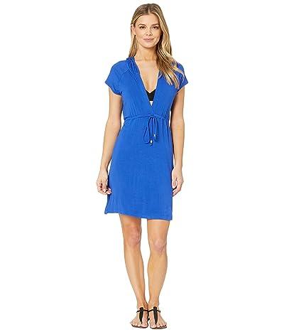 DOTTI Resort Solids Raglan Hoodie Dress Cover-Up (Royal) Women