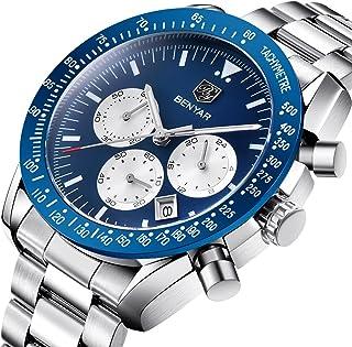2018 Fashion Men Watch Date Chronograph Sport 30M Waterproof Stainless Steel Quartz Wrist Watch 5120