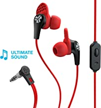 JLab Audio JBuds Pro Signature Earbuds | Titanium 10mm Drivers | Music Controls, Universal Mic | Custom Fit with Cush Fins | Red