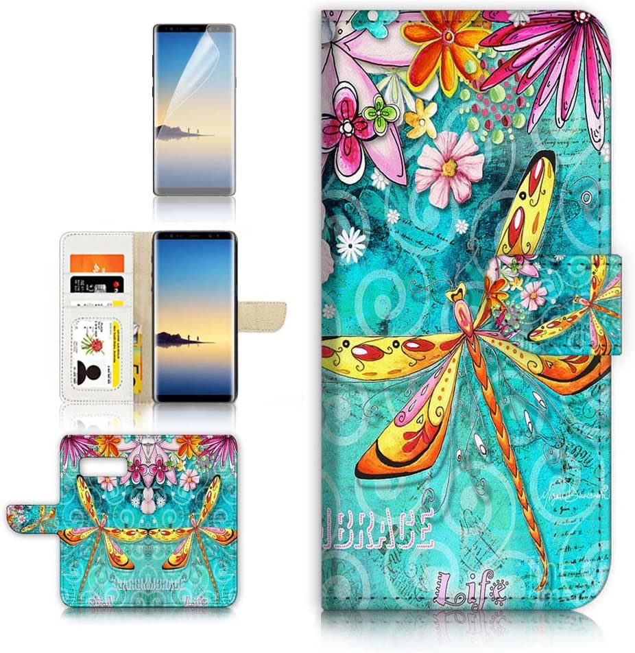 (for Samsung Note 8, Galaxy Note 8) Flip Wallet Case Cover & Screen Protector Bundle - A21095 Dragonfly