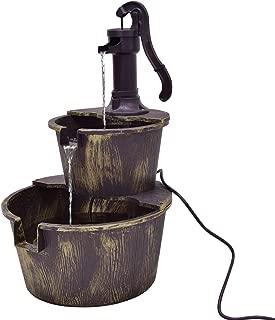 Giantex 2-Tier Barrel Water Fountain Rustic Wood Barrel Water Fountain w/Pump Outdoor Garden Decorative, 27 Inch Tall