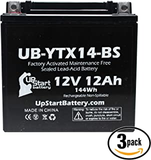 3-Pack Replacement for 2000 Honda TRX450 FourTrax Foreman S, ES 450 CC Factory Activated, Maintenance Free, ATV Battery - 12V, 12AH, UB-YTX14-BS