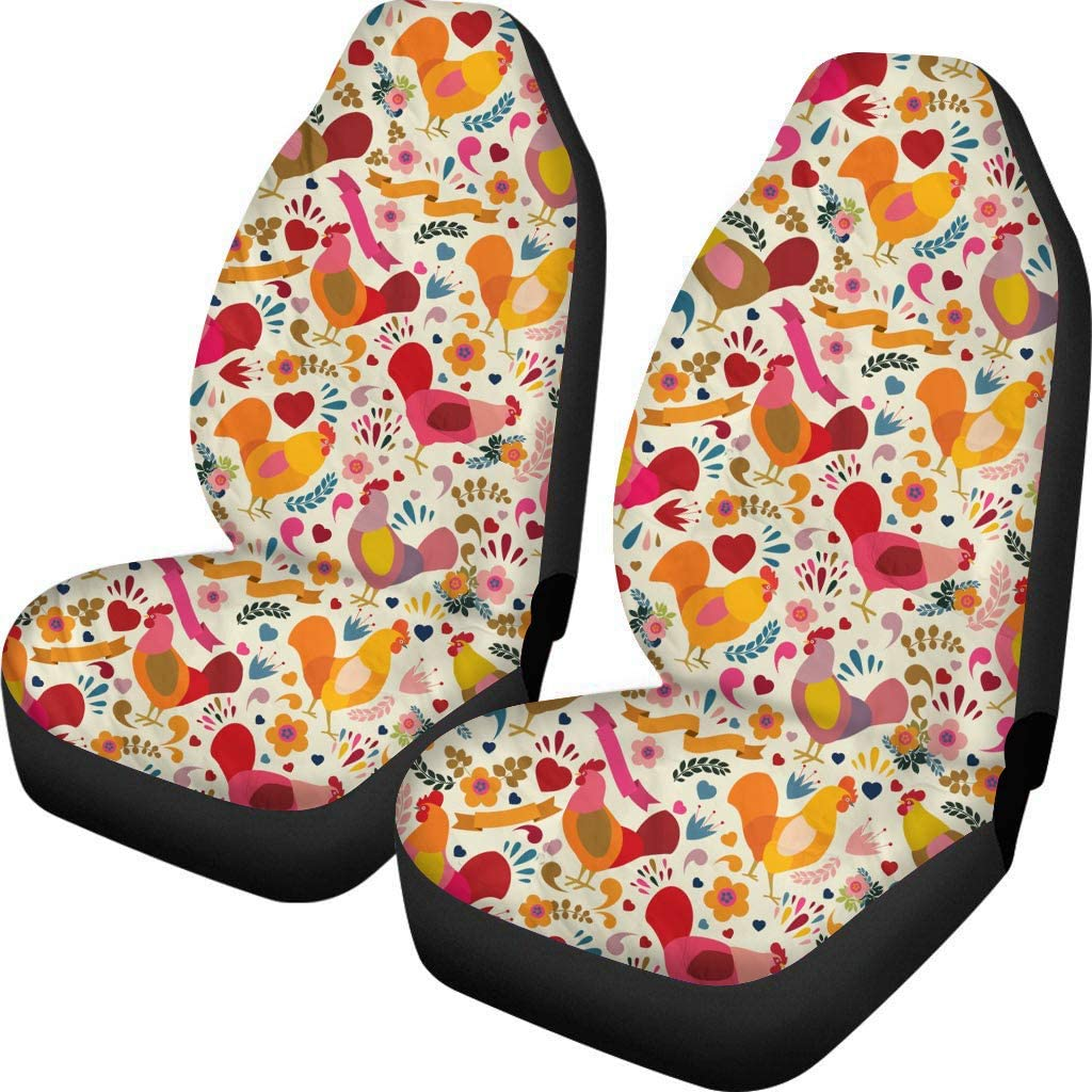 HUGS IDEA Auto Vehicle Seat Protector Bucket Seat Covers 2 Piece Adorable Chicken Flower Print Elastic Durable Blanket Protect for Car SUV