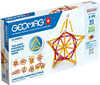 Geomag Classic - 93 Pieces - Magnetic Construction for Children - Green Collection - 100% Recycled Plastic Educational Toy...