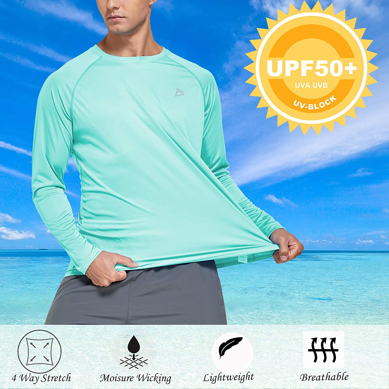FEDTOSING Mens Long Sleeve Shirts UPF 50 Sun Protection Rashguard Outdoor Performance T-Shirts Running Hiking Fishing