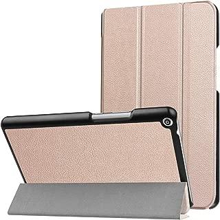 SHIHUI Phone Cases For Huawei MediaPad T3 8.0 Custer Texture Horizontal Flip Leather Case with 3-folding Holder(Black)(Dark Blue)(Orange)(Pink)(Green) etc (Color : Rose Gold)