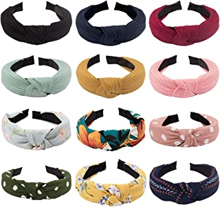 Cubaco Wire knotted Headband Knot Turban Headband Bowknot Bows Wide Headwrap Head Band Elastic Hair Accessories for Women(12 Color: 6 Solid+ 6 Flower))