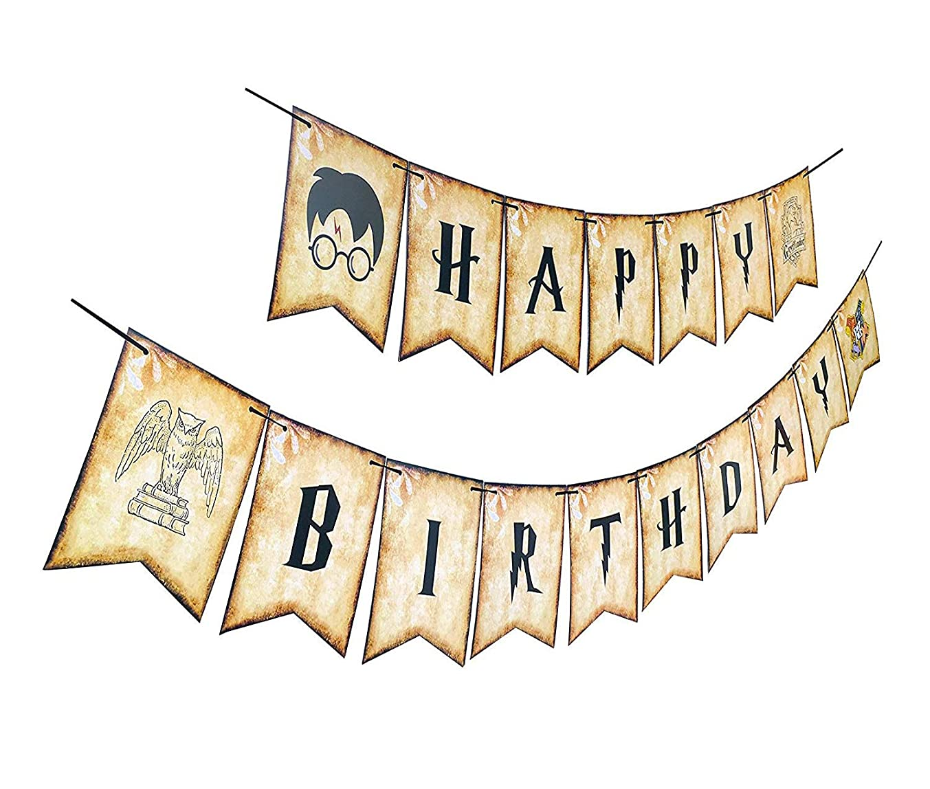 Harry Potter Happy Birthday Banner | Themed Bday Party Sign, Decorations