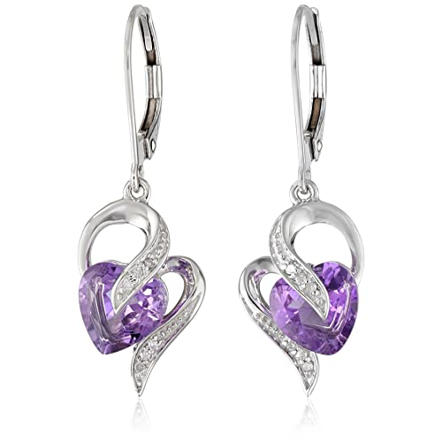 ce7f67274 10k White Gold Gemstone and Diamond Accent Heart Drop Earrings