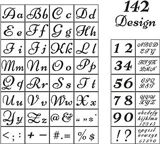 文字ステンシル 木製ペイント用 - アルファベットステンシル テンプレート 数字とサイン付き 再利用可能なプラスチックステンシル 2フォントと142デザイン ウッドバーニング&ウォールアート 44パック