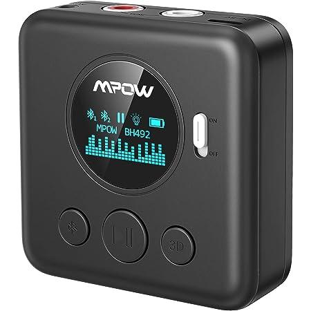 Mpow Aux Bluetooth Empfänger Bluetooth Aux Adapter Mit Oled Bildschirm Multipoint Bluetooth 3 5 Mm Cinch Eingang 15m Reichweite 10 Stunden Musik Streaming Für Heim Auto Lautsprechersystem Navigation
