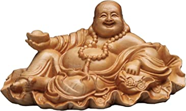 ZGPTX Solid Wood Carving Lotus Leaf Yuanbao Smile Buddha Wood Carving Mil Buddha Statue Crafts Home Car Pieces