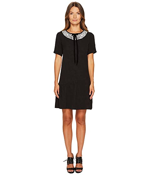 The Kooples Short Sleeve Dress with Rear Zip and Frilled Hem