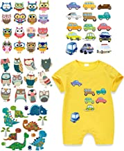 Baby Iron On Stickers-4 Set Heat Transfer Patches with Car Bird Dinosaur Cartoon Appliques Waterproof DIY for T-Shirt,Jackets,Bags,Baby Clothes