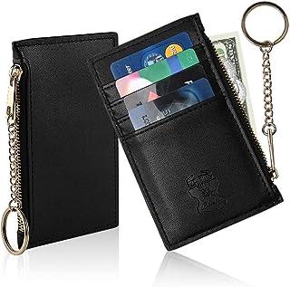 信用卡夹钱包带钥匙圈钥匙扣皮革拉链零钱钱钱包卡套,信用卡钱包,前袋男女通用