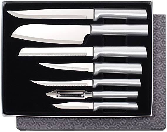 Rada Cutlery S38 Knife 7 Stainless Steel Kitchen Knives Starter Gift Set with Brushed Aluminum Made in USA