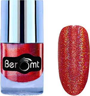 Beromt Holographic Gel Finished Shimmer Nail Polish, Rainbow Color Nail Lacquer, 9 to 5 Long Wear Nail Color, Red,505, 10 ml