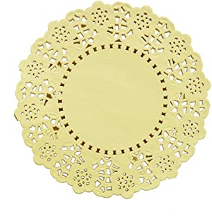 DECORA 3.5inch Round Paper Lace Doilies Wedding Tableware Decoration,100pcs Yellow