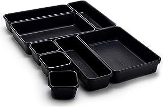 Interlocking Drawer Organizer Bins - Durable Plastic, Various Sizes for Custom Layout Design. Great for Desk Drawer, Tool ...